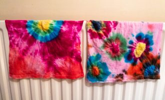 Tie dye kit review - t-shirts drying