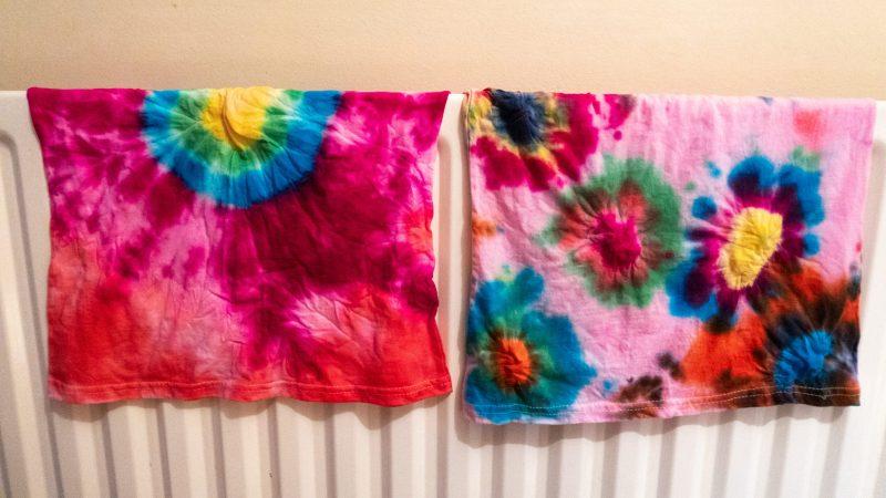 Tie dye kit review - t-shirts drying