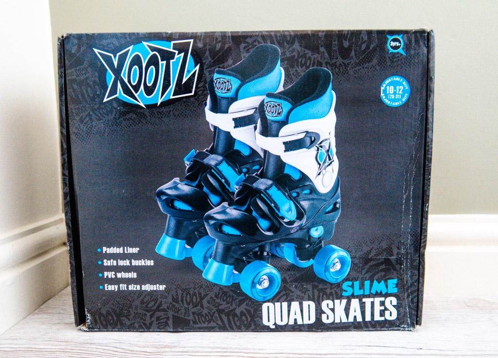 the box for Xootz Blue Adjustable Quad Roller Skates