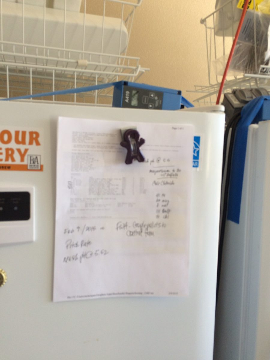Notes taken thoughout the brewday and posted on the fermenter door
