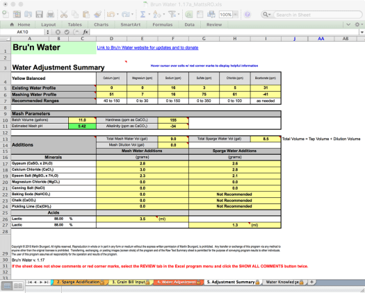 Bru'n Water Free Spreadsheet v 1.17a Adjustment Summary for Koelsch