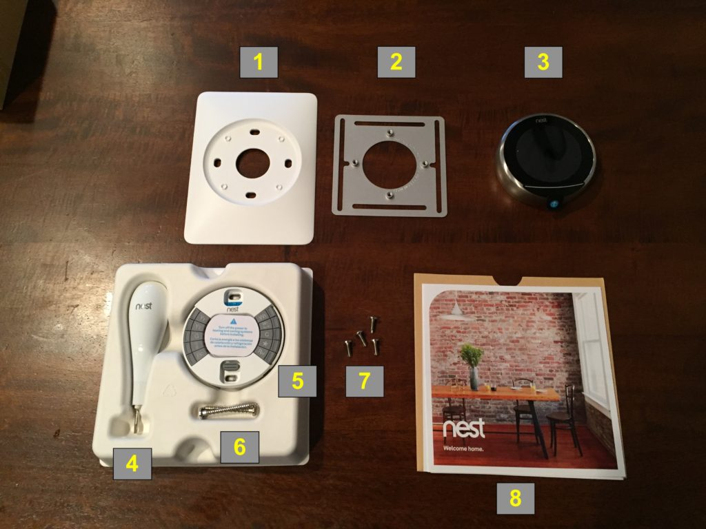 hight resolution of nest thermostat packaging contents