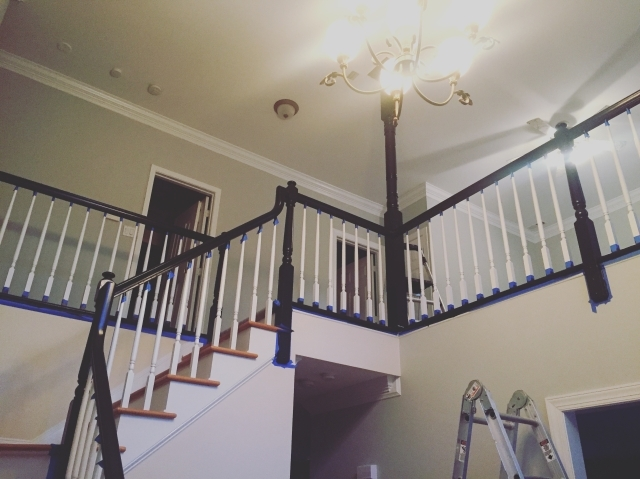 Painting Our Banister Black Accidental Suburbanites   Black Banister With White Spindles   Round   Antique   Finished Painted Stair   Oak Handrail Basket   Brazilian Cherry Stair