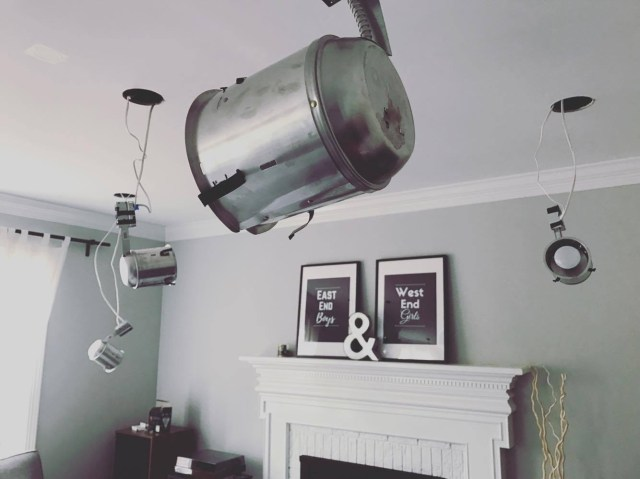 a ceiling fan with diy recessed lights
