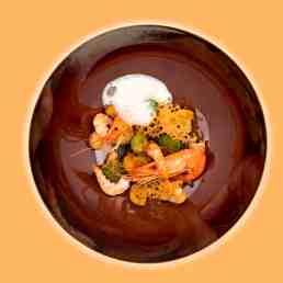 aviation-air-france Prawns and quinoa, cauliflower medley and gingerbread crumble