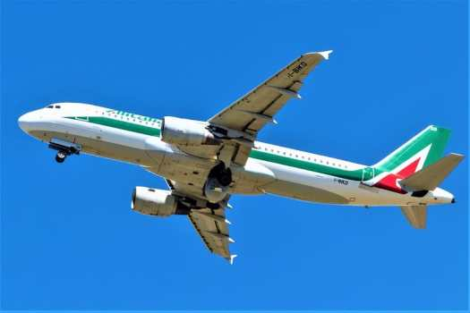 Alitalia Airbus A320-214 takes off from Tegel airport in Berlin.