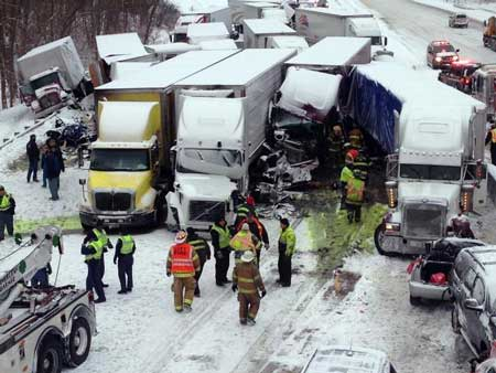 tractor trailer accident pileup