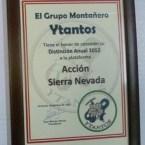 El grupo montañero Ytantos concede una distinción anual 2012 a Acción Sierra Nevada