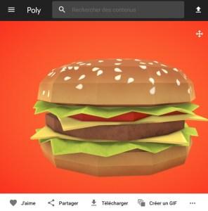 Poly by Google - cheeseburger