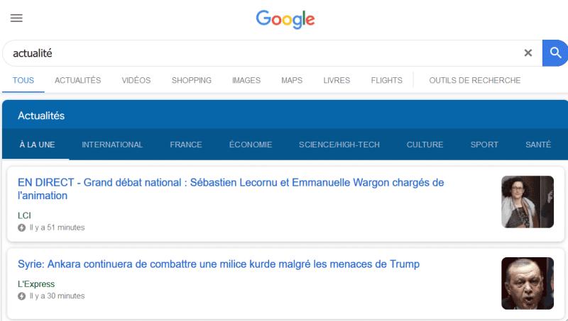 """recherche google """"actualités"""" qui présente les résultats AMP qui sont les mieux référencés."""