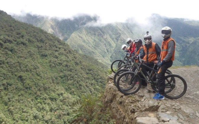Cycling on Yungas Road