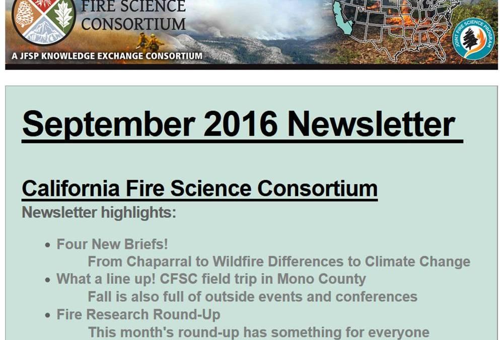 CA Fire Science Consortium Newsletter September 2016