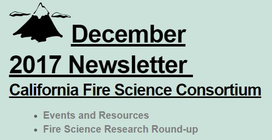 California Fire Science Consortium December 2017 Newsletter