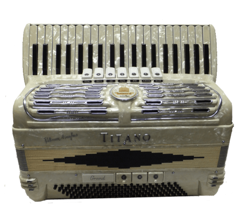 Titano Palmer Hughes Grand Pearl White 120 Bass Accordion