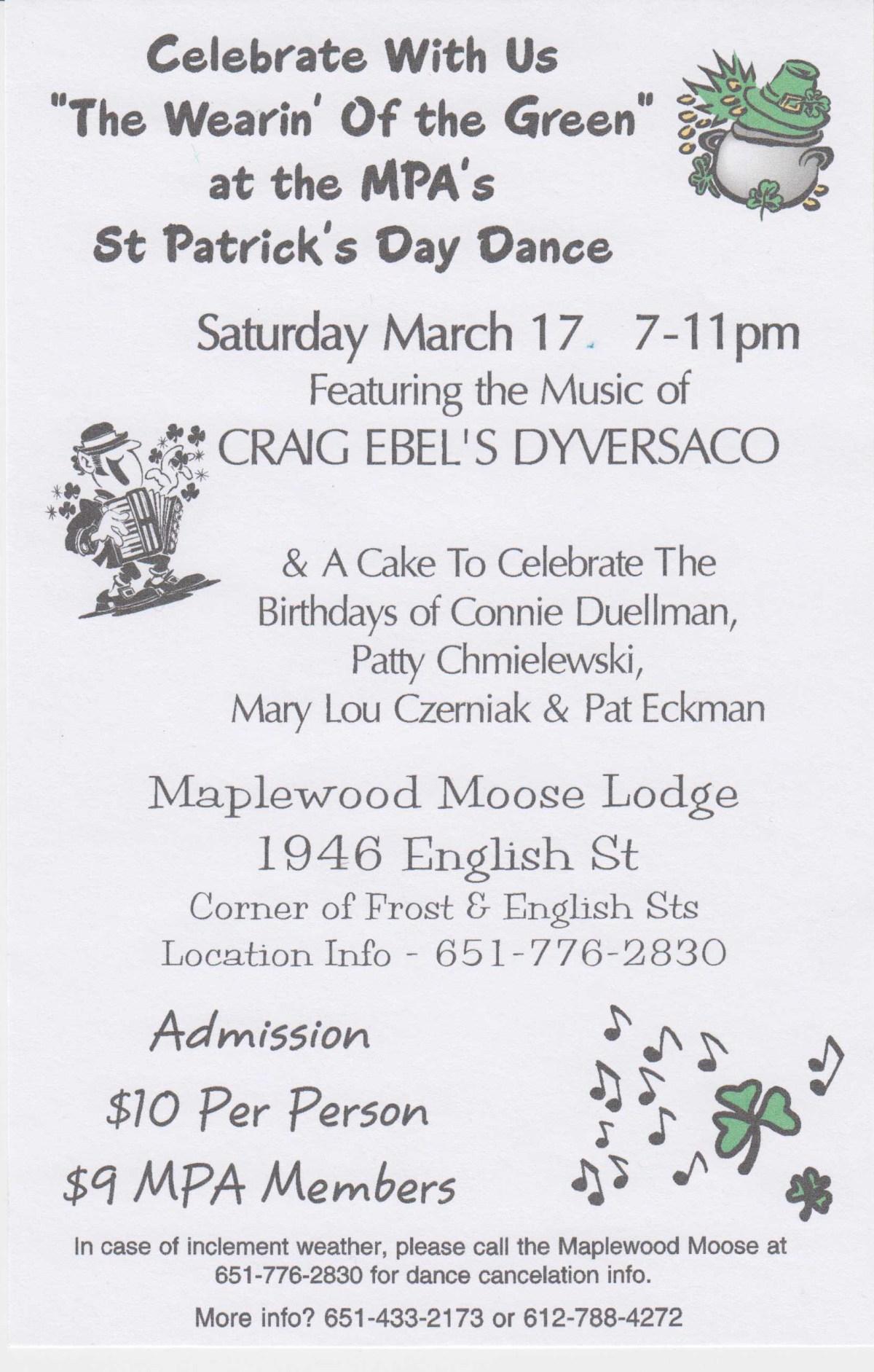 St. Patricks Day Dance - Maplewood Moose Lodge - Maplewood MN