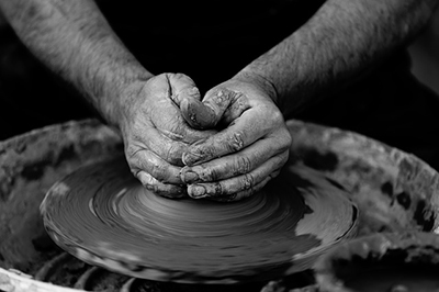 Hands-on making pottery.