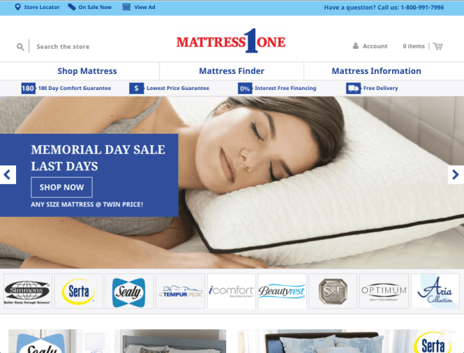 Mattress 1 One Furniture E Commerce Site Homepage