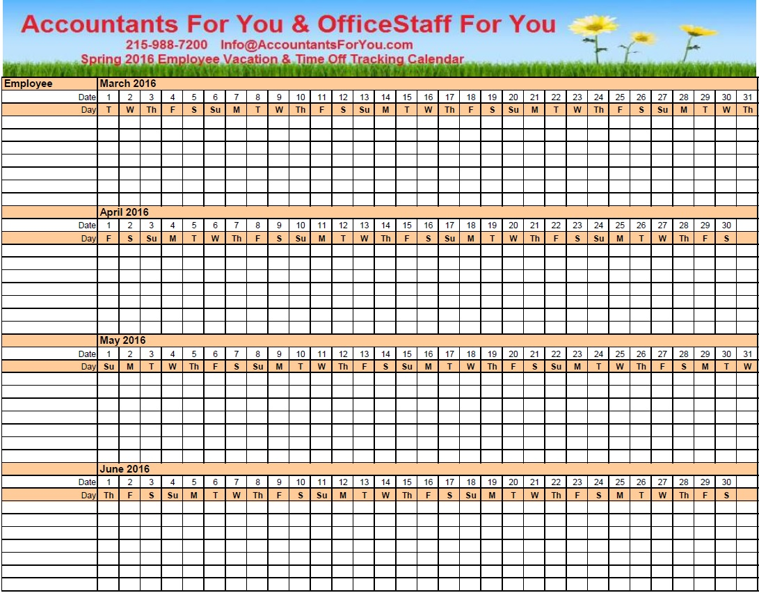 Employee Vacation Tracking Calendar Template Excel
