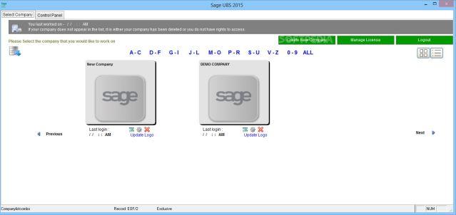 Sage UBS Companies Dashboard
