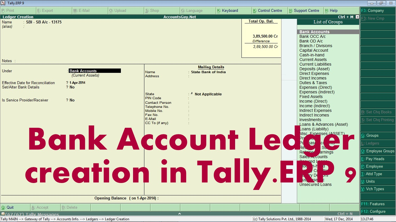 How To Create Savings Or Current Bank Account Ledger In Tally Erp 9 Accountsguy