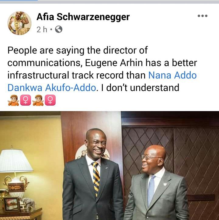 Eugene has better Infrastructural records than Nana Addo - Afia Schwar teases Eugene Arhin