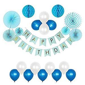 Happy Birthday décoration Ballon Anniversaire (Bleu)