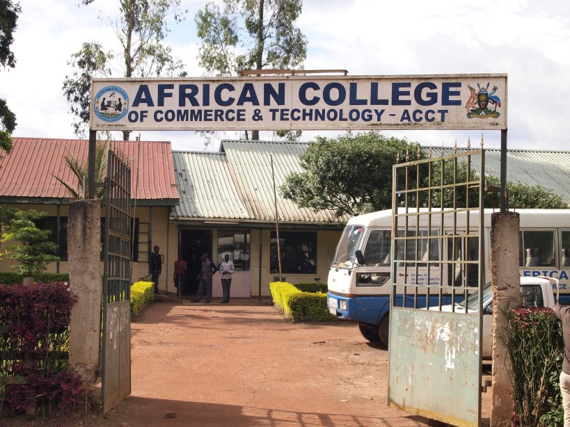 Close up of the front sign of the African College of Commerce and Technology