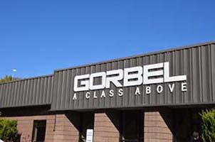 Gorbel Head Office Sign Above Entrance crane