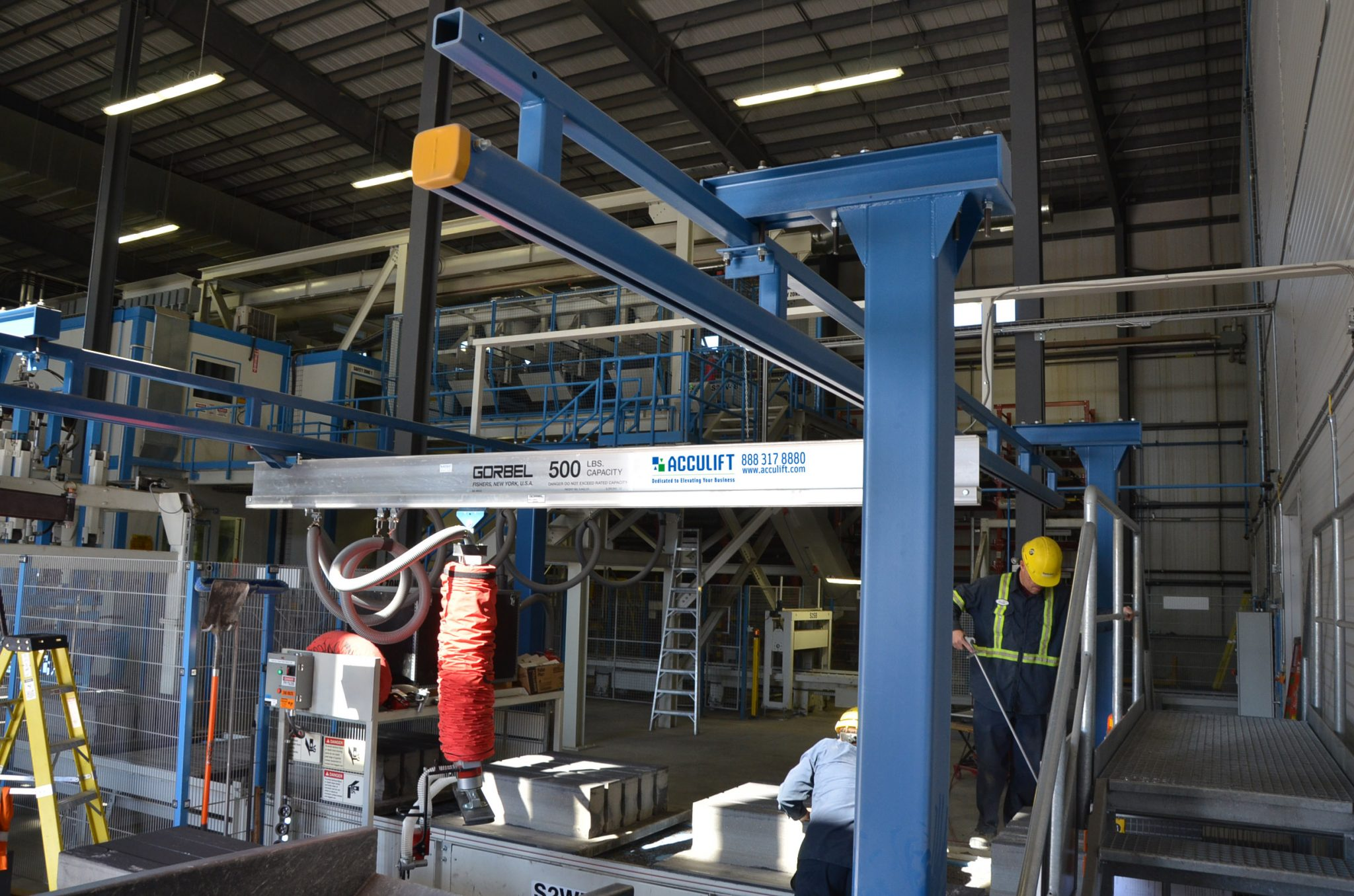 quality control crane workstation double vacuum lifter