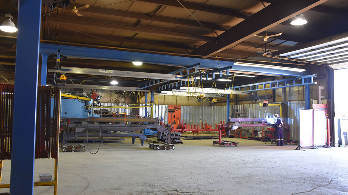 crane system over welding work stations at ag manufacturing facilities