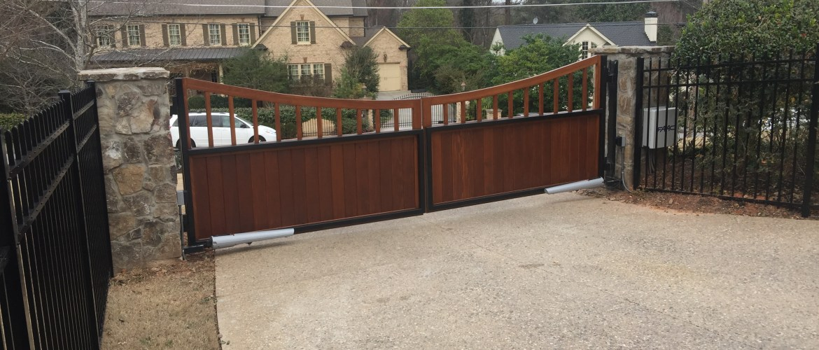 Custom Wood Estate Gate Inside access control
