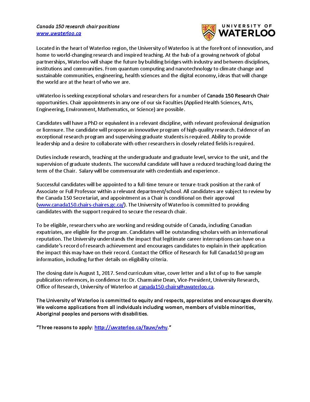 University Cover Letter University Of Waterloo Cover Letter Sample Andrian James Blog