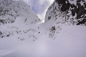 Natasha Salway - making headway up the Arrowsmith Main Gully