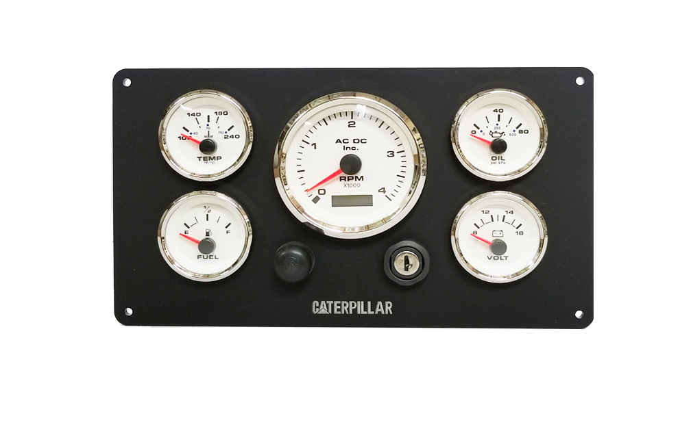 Black Caterpillar Engine Instrument Panel  White Gauges