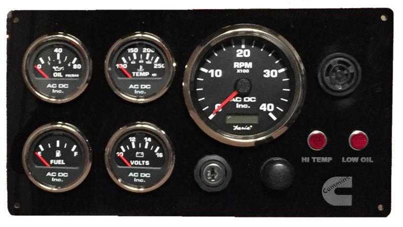 boat battery wiring diagrams 150 watt inverter circuit diagram black cummins engine instrument panel, gauges – ac dc marine inc.