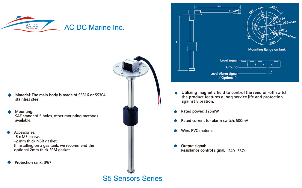Boat Fuel Water Tank Level Sending, Kus Fuel Gauge Wiring Diagram