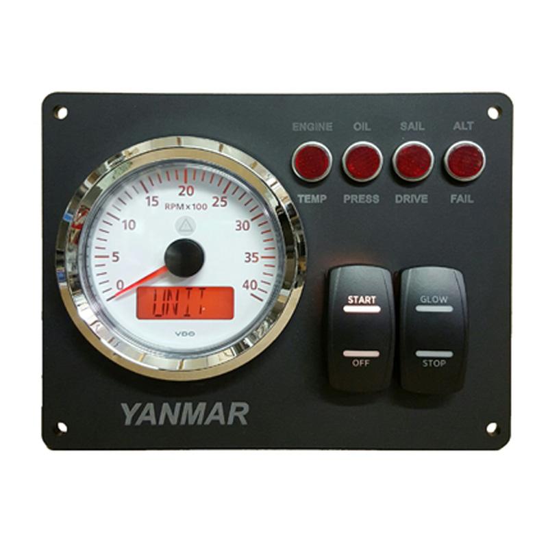 yanmar b type instrument panel with vdo rpm gauge 7 1 8\u2033 x 5