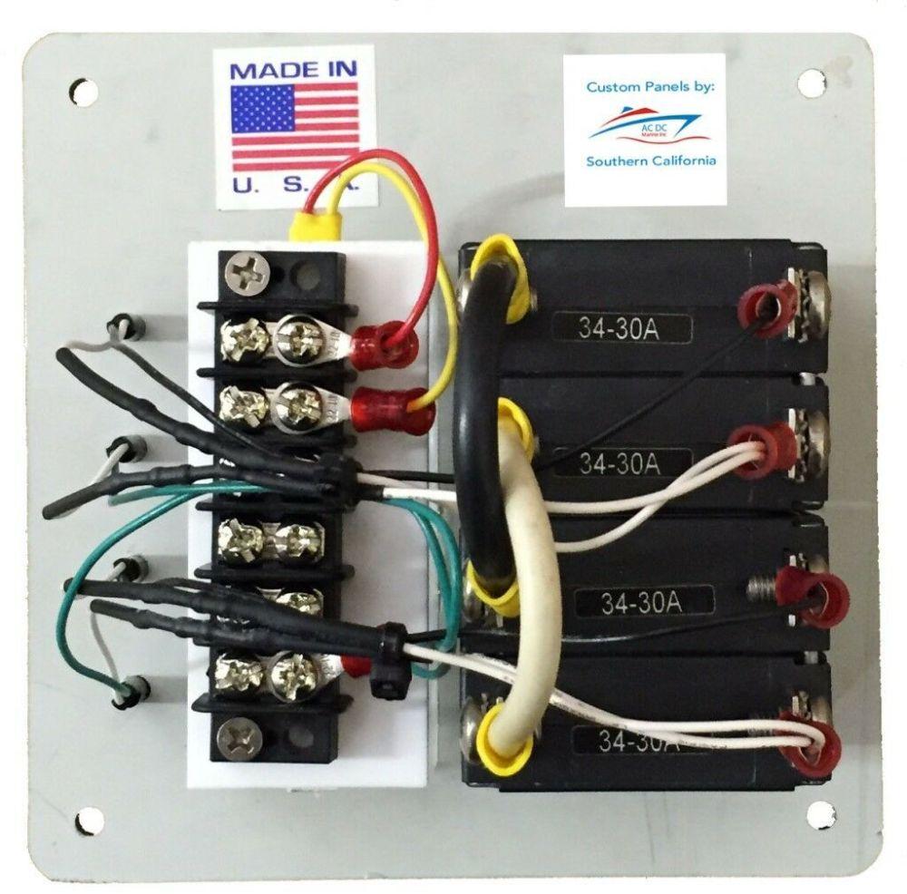 medium resolution of 30 amp circuit breaker panel shore power inverter selector switch panel usa made