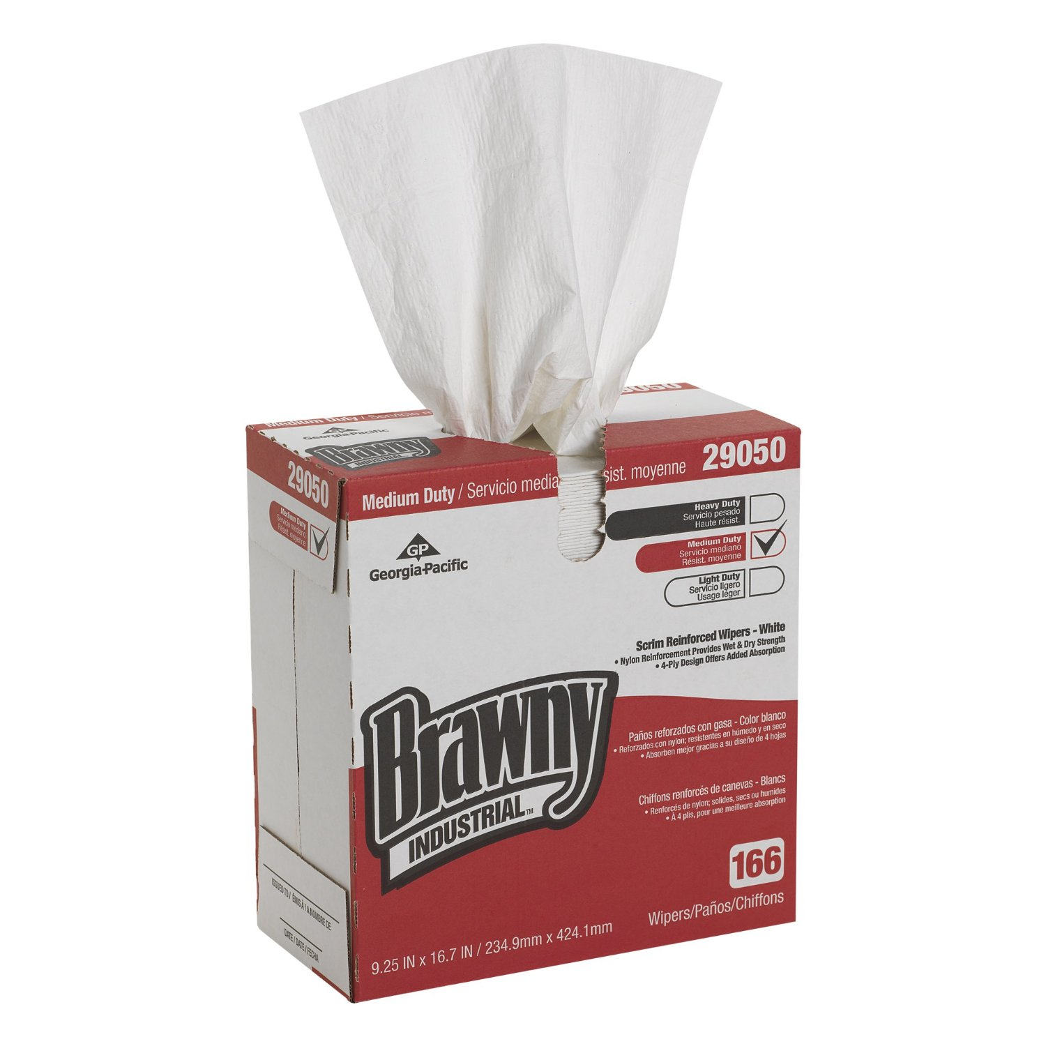 Brawny 2905003 White 4ply Scrimreinforced Paper Wipers