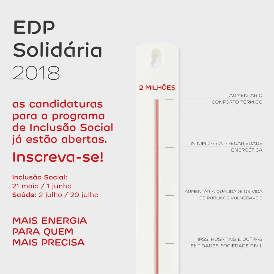 Abertura Candidaturas Programa EDP Solidária - 2018