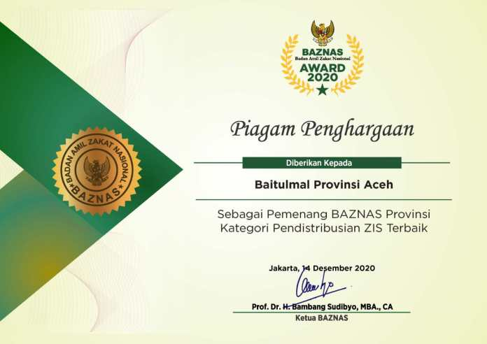 Baitul Mal Aceh Kembali Raih Penghargaan BAZNAS Award