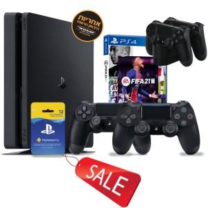 קונסולת סוני 4 Sony PlayStation 4 Slim 500GB זוג בקרים ומשחק FIFA 21 אחריות יבואן רשמי ישפאר