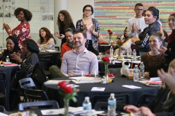 Students applaud during the Acel Moore High School Journalism Workshop awards luncheon at the Philadelphia Media Network office in Center City on Saturday, April 7, 2018. The luncheon honored the 21 students who participated in this year's workshop. TIM TAI / Staff Photographer