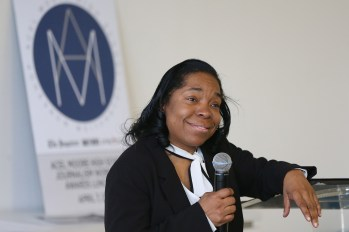 Associated Press editor Sharyn Flanagan speaks during the Acel Moore High School Journalism Workshop awards luncheon at the Philadelphia Media Network office in Center City on Saturday, April 7, 2018. The luncheon honored the 21 students who participated in this year's workshop. TIM TAI / Staff Photographer