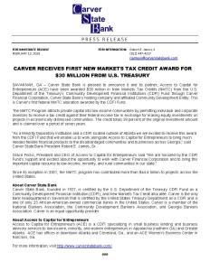 Carver NMTC Award Release