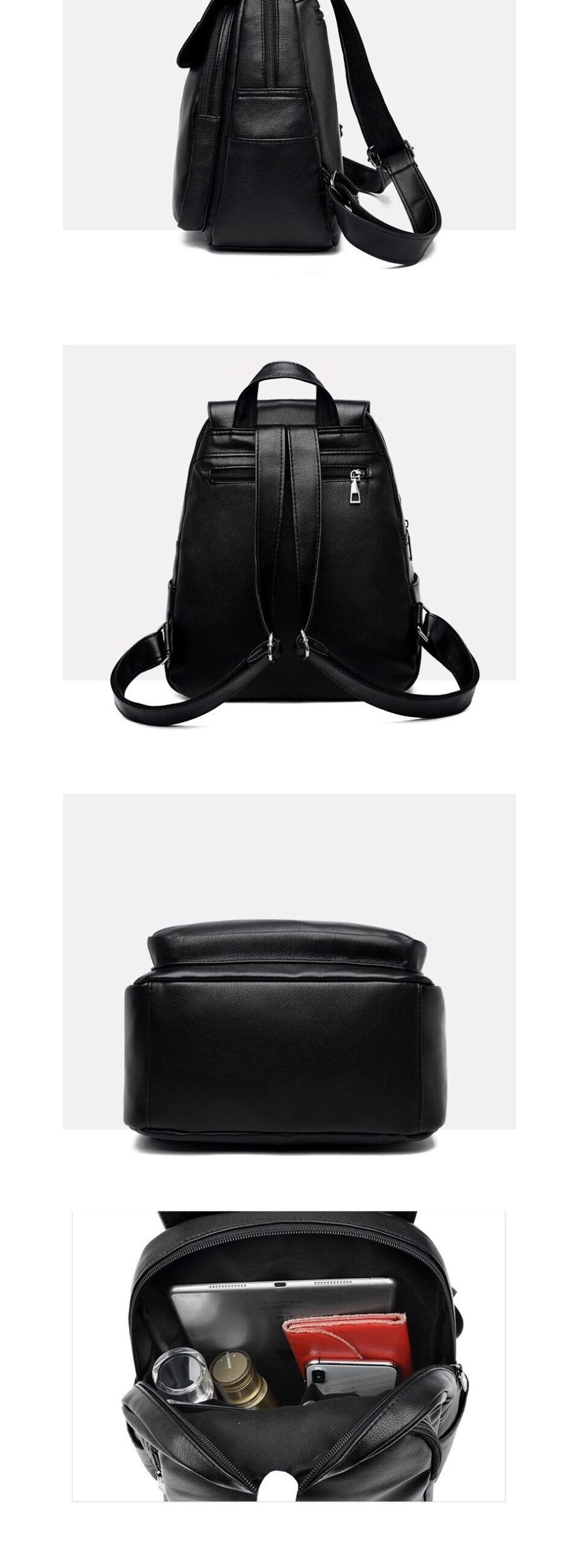 ACELURE Large School Bags Teenager Students Travel Bags Casual Fashion Soft Solid PU Leather High Capacity Backpacks for Women