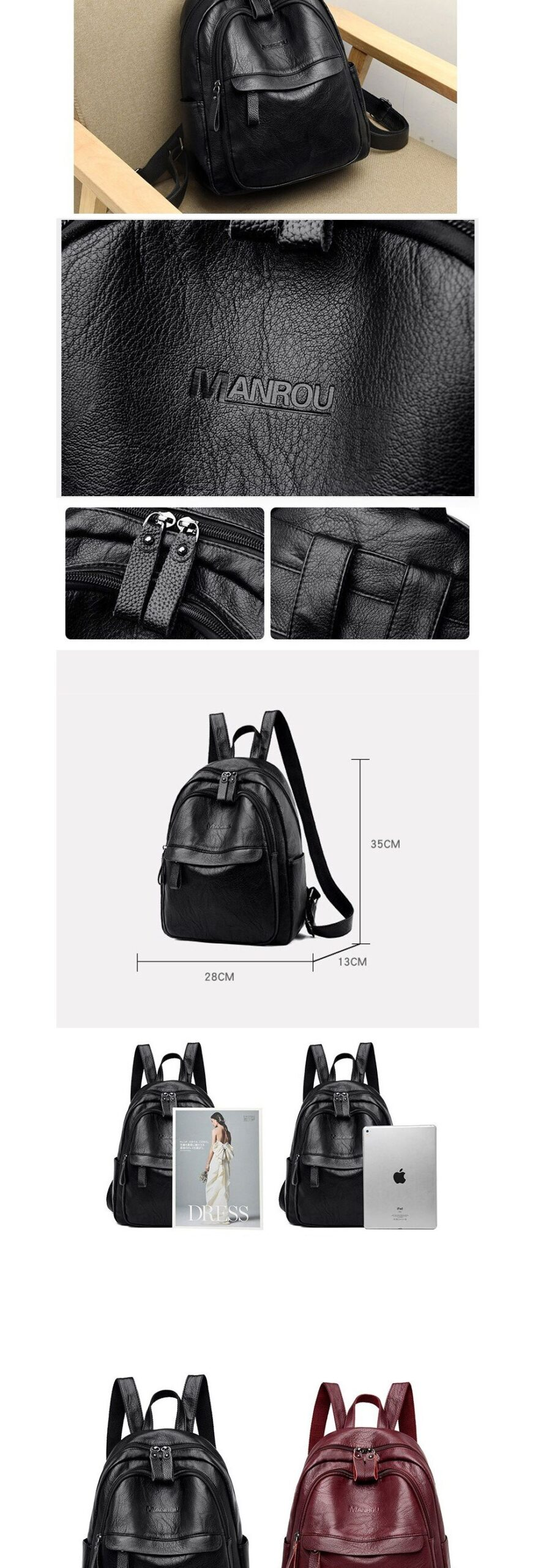 ACELURE Casual Fashion Large School Bags Students Zipper Bag Red Black Soft PU Leather High Quality Backpacks for Teenager Girls