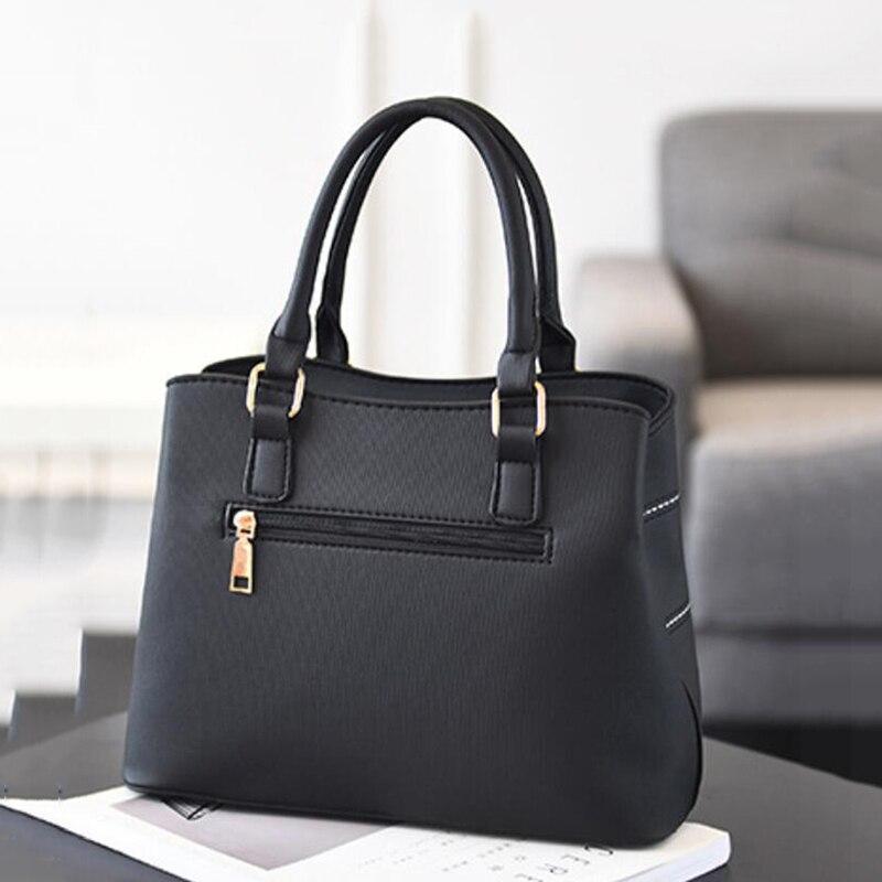 ACELURE Black PU Leather High Capacity Woman Handbags Grid Fashion Casual Luxury Designer Large Ladies Shoulder Crossbody Bag