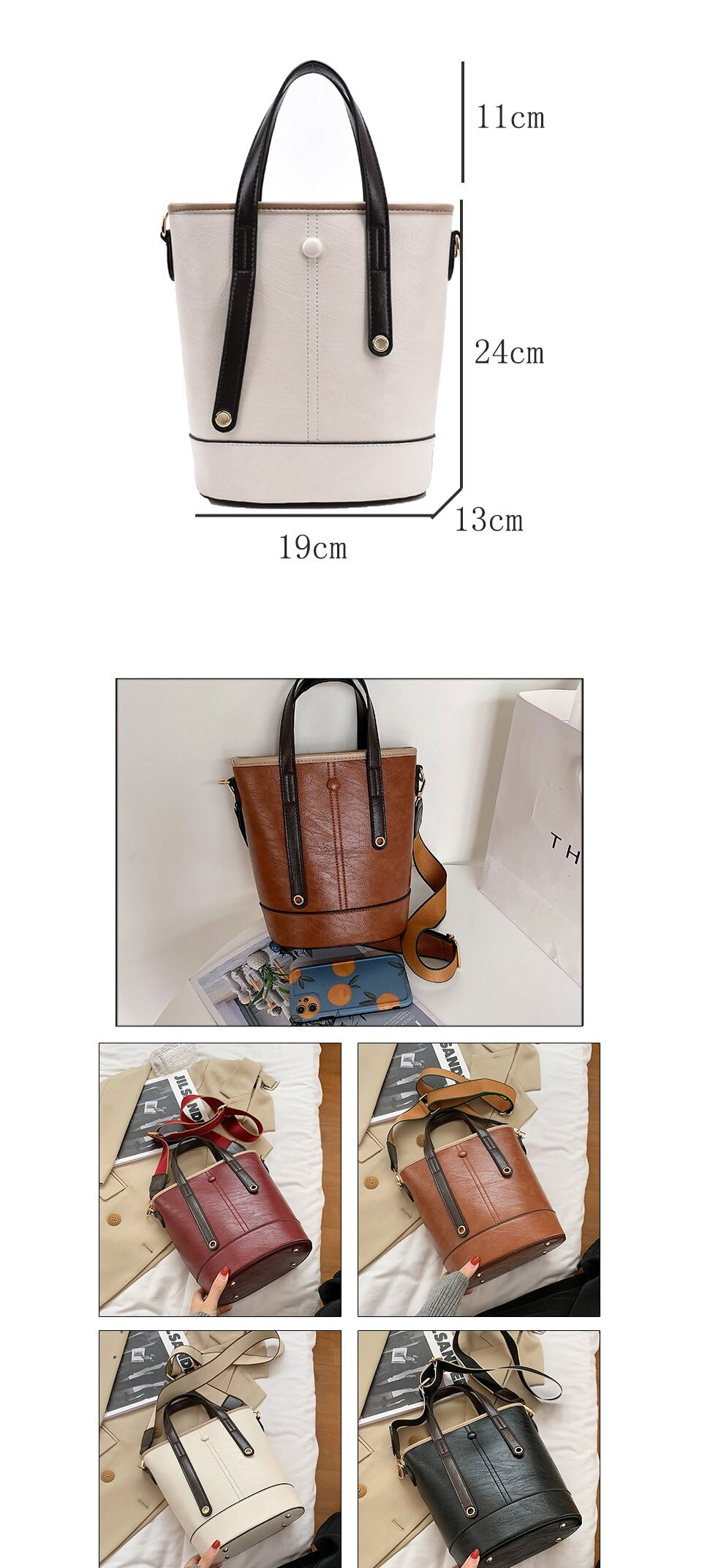 Women Bucket Bag Oil Wax Faux Leather Tote Handbag