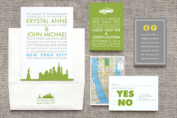 new york wedding invitation suite